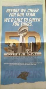 Super Bowl Team places ad.