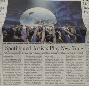 Spotify Wall Street Journal article