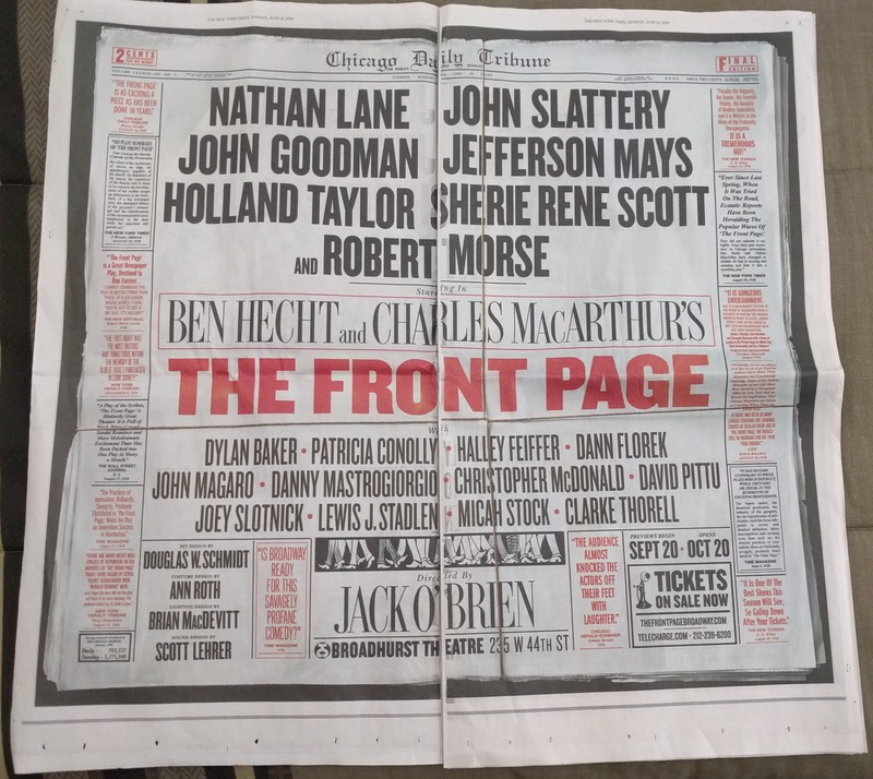 Front Page revival Broadway