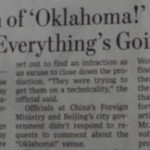 Oklahoma! Apparently Not OK in China…